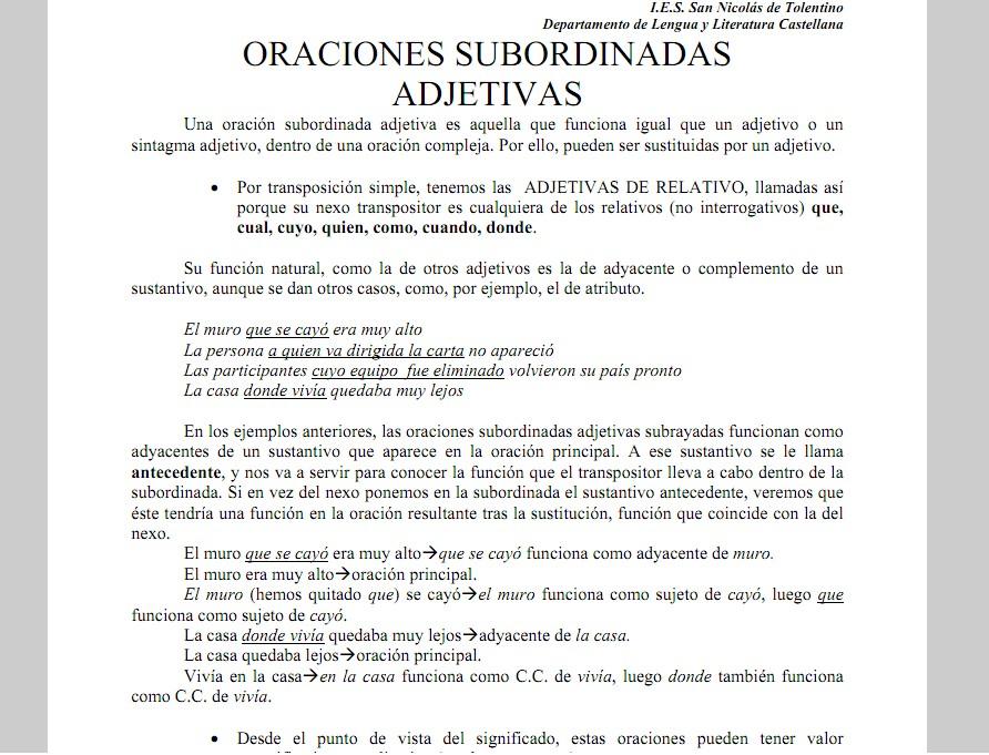Oraciones subordinadas adjetivas | Recurso educativo 35526 - Tiching