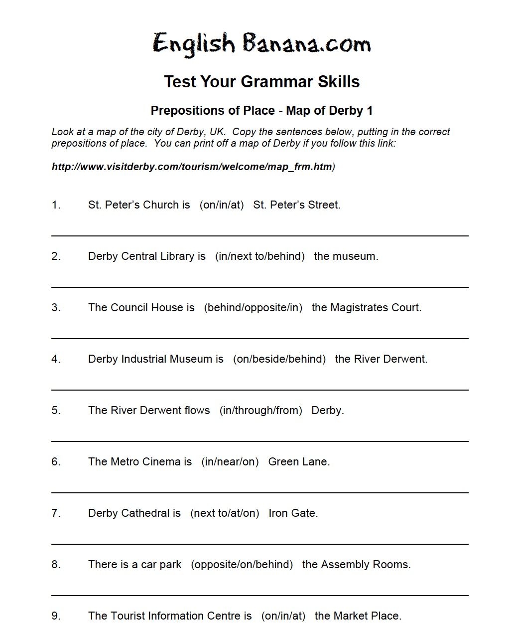 Worksheets Preposition Worksheet Pdf map of derby prepositions place recurso educativo 42575 42575