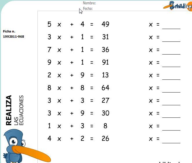 Fichas: ecuaciones de primer grado | Recurso educativo 43965 - Tiching