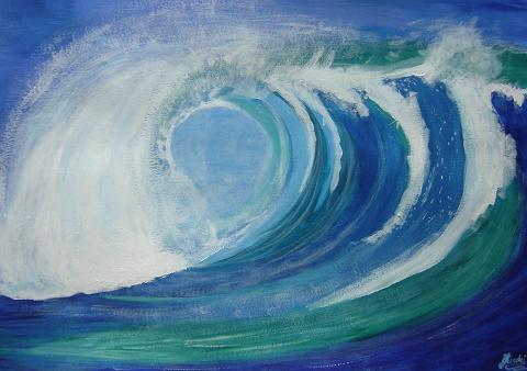 Pintura del oleaje recurso educativo 50219 tiching - Paisaje con colores calidos ...