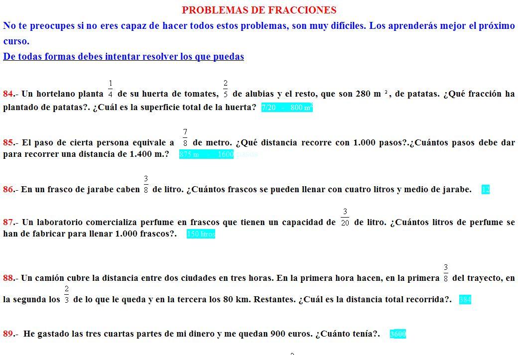 Problemas con fracciones | Recurso educativo 100284 - Tiching