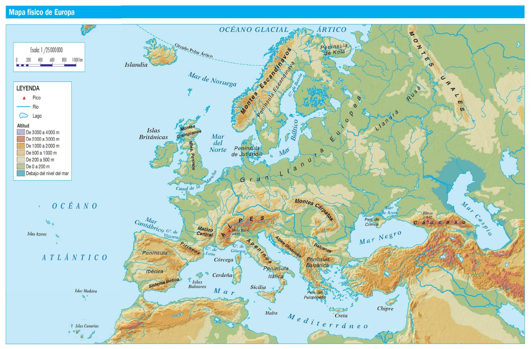 Mapa Físico De Europa.Mapa Fisico De Europa Recurso Educativo 738507 Tiching