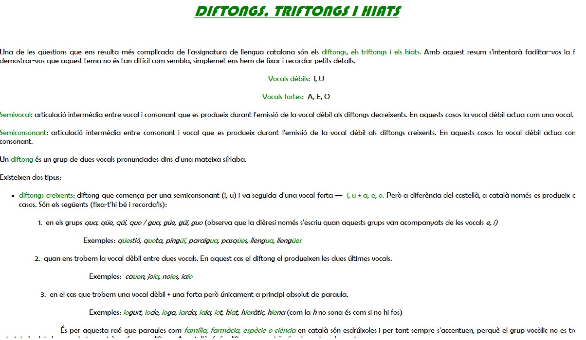 Diftongs, triftongs i hiats   Recurso educativo 34989 ...