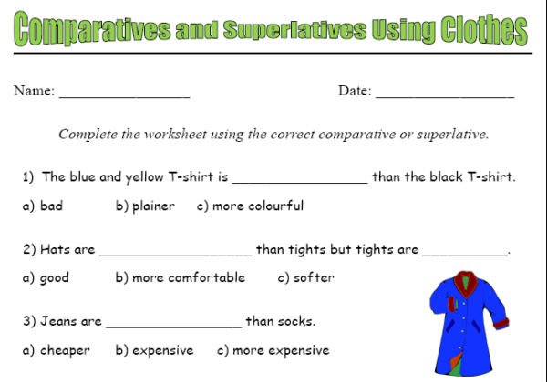 Comparatives and superlatives using clothes | Recurso educativo 39839 ...